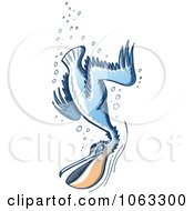 Clipart Pelican Diving Royalty Free Vector Illustration