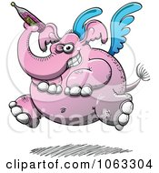 Clipart Drunken Pink Winged Elephant Royalty Free Vector Illustration
