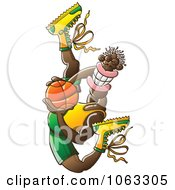 Clipart Flexible Black Basketball Player Royalty Free Vector Illustration