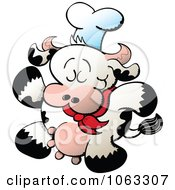Clipart Walking Chef Cow Royalty Free Vector Illustration by Zooco