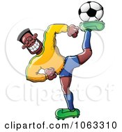 Clipart Flexible Black Soccer Player Royalty Free Vector Illustration by Zooco