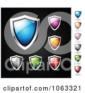 Clipart Colorful Shiny Shields Digital Collage Royalty Free Vector Illustration
