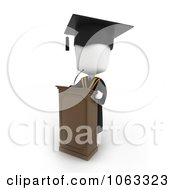 Clipart 3d Ivory College Valedictorian Graduate Speaking Royalty Free CGI Illustration