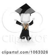 Clipart 3d Ivory College Graduate Jumping Royalty Free CGI Illustration