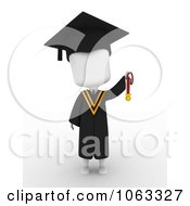 Clipart 3d Ivory College Graduate Holding A Medal 1 Royalty Free CGI Illustration