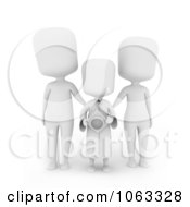 Clipart 3d Ivory Child Graduate And Parents Royalty Free CGI Illustration