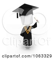 Clipart 3d Ivory College Graduate Holding Up A Certificate Royalty Free CGI Illustration