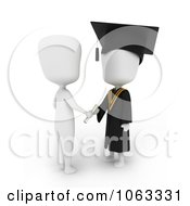 Clipart 3d Ivory College Graduate Receiving A Certificate Royalty Free CGI Illustration
