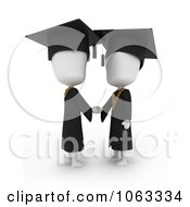 Clipart 3d Ivory College Graduates Shaking Hands Royalty Free CGI Illustration