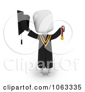 Clipart 3d Ivory College Graduate Holding A Medal 2 Royalty Free CGI Illustration