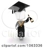 Clipart 3d Ivory College Graduate With Wine Royalty Free CGI Illustration