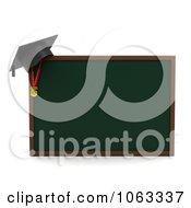 3d Graduation Cap On A Chalk Board