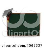 Clipart 3d Graduation Cap On A Chalk Board Royalty Free CGI Illustration
