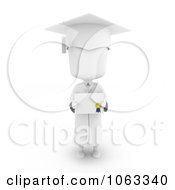 Clipart 3d Ivory Child Graduate Holding A Certificate Royalty Free CGI Illustration