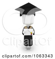 Clipart 3d Ivory College Graduate Holding A Certificate Royalty Free CGI Illustration