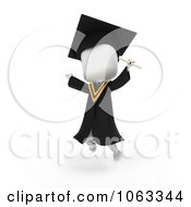 Clipart 3d Ivory College Graduate Leaping Royalty Free CGI Illustration