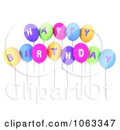 Clipart 3d Happy Birthday Balloons Royalty Free CGI Illustration by BNP Design Studio