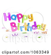 Clipart 3d Happy Birthday Greeting 1 Royalty Free CGI Illustration by BNP Design Studio