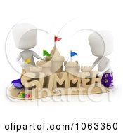 Clipart 3d Ivory Boys Building A Summer Sand Castle Royalty Free CGI Illustration by BNP Design Studio