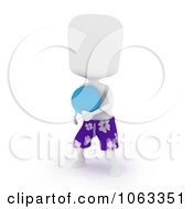 Clipart 3d Ivory Man Playing Frisbee Royalty Free CGI Illustration by BNP Design Studio