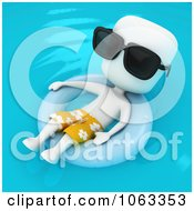 Clipart 3d Ivory Man Floating In An Inner Tube Royalty Free CGI Illustration