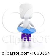 Clipart 3d Ivory Man Wearing An Inner Tube Royalty Free CGI Illustration