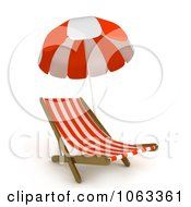Clipart 3d Beach Chair And Parasol Royalty Free CGI Illustration