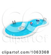 Clipart 3d Ivory Men In A Swimming Pool Royalty Free CGI Illustration