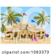 Clipart 3d Summer Sand Castle On A Beach Royalty Free CGI Illustration by BNP Design Studio