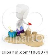 3d Ivory Boy Building A Sand Castle