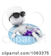 Clipart 3d Ivory Man Relaxing In An Inner Tube Royalty Free CGI Illustration
