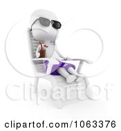 Clipart 3d Ivory Man Relaxing In A Lounge Chair Royalty Free CGI Illustration by BNP Design Studio