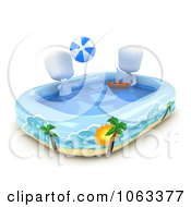 Clipart 3d Ivory Boys Playing In A Kiddie Pool Royalty Free CGI Illustration