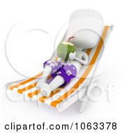 Clipart 3d Ivory Man Drinking On A Lounge Chair Royalty Free CGI Illustration by BNP Design Studio