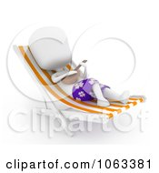 Clipart 3d Ivory Man Playing A Ukelele On A Lounge Chair Royalty Free CGI Illustration by BNP Design Studio