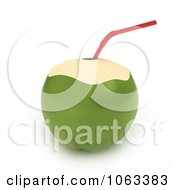 Clipart 3d Coconut And Straw Royalty Free CGI Illustration by BNP Design Studio