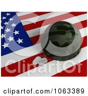Clipart 3d Memorial Day Dog Tags And Helmet On A Flag Royalty Free CGI Illustration by BNP Design Studio