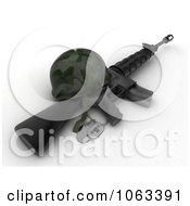 Clipart 3d Memorial Day Dog Tags Helmet And Military Rifle Royalty Free CGI Illustration