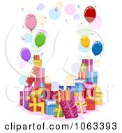 Clipart Frame Of Birthday Gifts And Balloons Royalty Free Vector Illustration