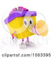 Clipart 3d Birthday Gift Character Announcing Royalty Free CGI Illustration