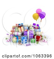 Clipart 3d Birthday Gifts And Balloons Royalty Free CGI Illustration