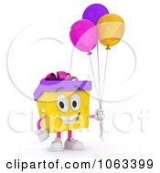 Clipart 3d Birthday Gift Character Holding Balloons 2 Royalty Free CGI Illustration