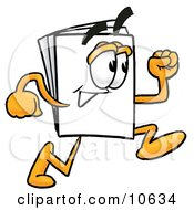 Clipart Picture Of A Paper Mascot Cartoon Character Running by Toons4Biz