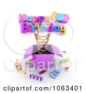 Clipart 3d Happy Birthday Springing Out Of A Gift Box Royalty Free CGI Illustration by BNP Design Studio