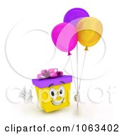 Clipart 3d Birthday Gift Character Holding Balloons 1 Royalty Free CGI Illustration