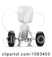 Clipart 3d Ivory Man Lifting A Barbell Royalty Free CGI Illustration