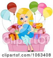 Clipart Pretty Pregnant Woman At Her Baby Shower Royalty Free Vector Illustration
