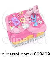 Clipart 3d Girl Baby Shower Cake Royalty Free CGI Illustration by BNP Design Studio