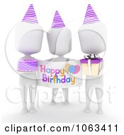 Clipart 3d Ivory Men With A Birthday Sign Royalty Free CGI Illustration by BNP Design Studio