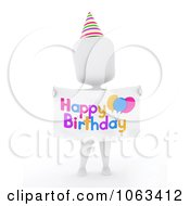 Clipart 3d Ivory Man Holding A Happy Birthday Sign Royalty Free CGI Illustration by BNP Design Studio